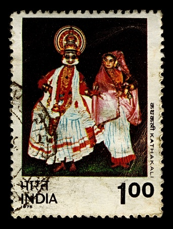 indian postal stamp: India-CIRCA 1975:A stamp printed in India shows image of Kathakali is a highly stylized classical Indian dance-drama, circa 1975.