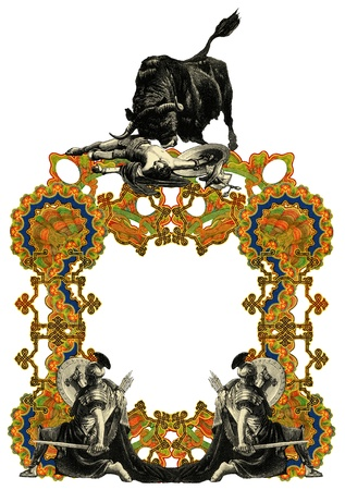 killed: Luxurious Victorian frame with gladiator and bull. Stock Photo