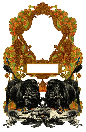 Luxurious Victorian frame with gladiator and bull. photo