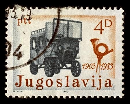 yugoslavia: Yugoslavia-CIRCA 1983:A stamp printed in Yugoslavia shows image of first post vehicle, circa 1983. Editorial