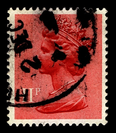 constitutional: United Kingdom-CIRCA 1967:A stamp printed in United Kingdom shows image of Elizabeth II (Elizabeth Alexandra Mary) is the constitutional monarch of United Kingdom in pink, circa 1967.