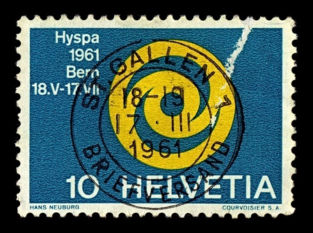 signifier: Switzerland-CIRCA 1961:A stamp printed in Switzerland shows image of ausstellung emblem der HYSPA 1961, circa 1961. Editorial