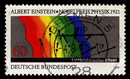 photoelectric: Germany-CIRCA 1979:A stamp printed in Germany shows image of In the photoelectric effect, Albert Einstein, circa 1979.