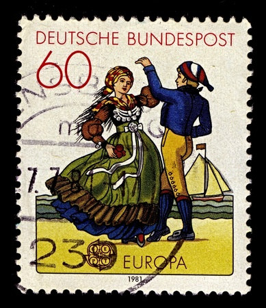 Germany-CIRCA 1981:A stamp printed in Germany shows image of dancing couple in the Frisian costume, circa 1981.