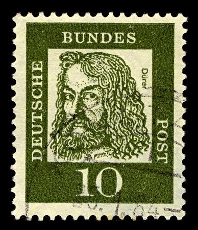 engraver: Germania-CIRCA 1961: Un timbro stampato in Germania mostra immagine di Albrecht Durer � stato un pittore tedesco, autore di stampe, incisore, matematico e teorico da Norimberga, intorno al 1961.