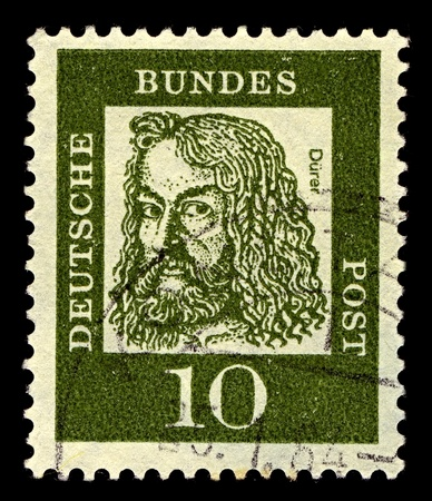 durer: Germany-CIRCA 1961:A stamp printed in Germany shows image of Albrecht Durer was a German painter, printmaker, engraver, mathematician, and theorist from Nuremberg, circa 1961. Editorial