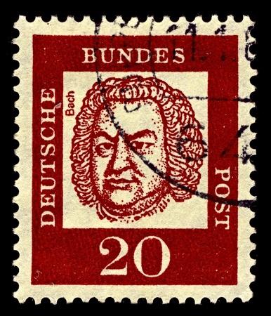 Germany-CIRCA 1961:A stamp printed in Germany shows image of Johann Sebastian Bach was a German composer, organist, harpsichordist, violist, circa 1961.