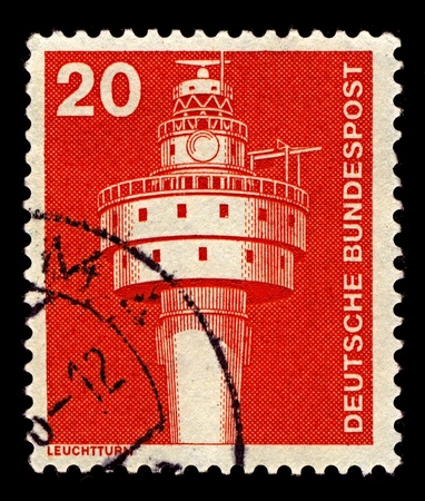 bight: Germany-CIRCA 1975:A stamp printed in Germany shows image of The Alte Weser Lighthouse is located offshore from the estuary mouth of the river Weser in the German Bight, southern North Sea, circa 1975.