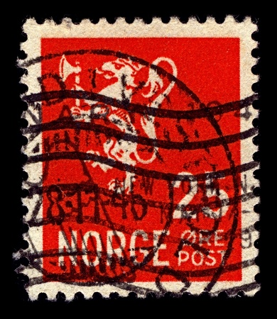 argent: NORWAY-CIRCA 1923:A stamp printed in NORWAY shows image of The coat of arms of Norway is a crowned, golden lion rampant holding an axe with an argent blade, on a crowned, triangular and red escutcheon, circa 1923.