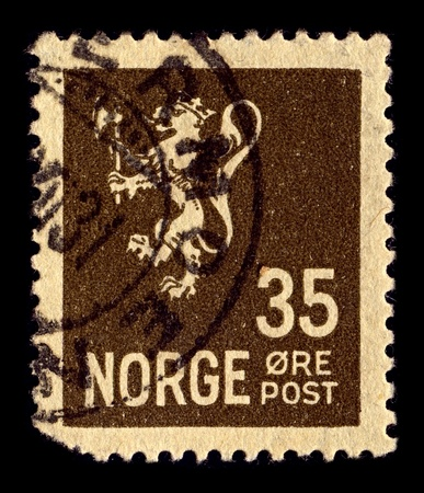 argent: NORWAY-CIRCA 1927:A stamp printed in NORWAY shows image of The coat of arms of Norway is a crowned, golden lion rampant holding an axe with an argent blade, on a crowned, triangular and red escutcheon, circa 1927.