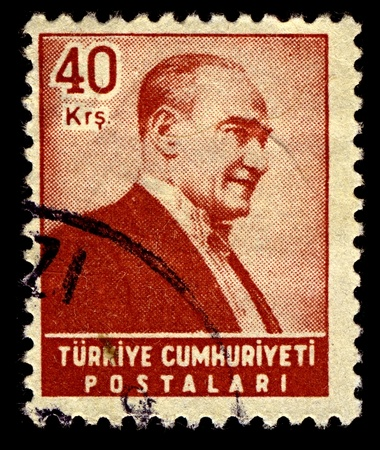 mustafa: TURKEY-CIRCA 1955:A stamp printed in TURKEY shows image of Mustafa Kemal Ataturk was an Ottoman and Turkish army officer, revolutionary statesman, writer, and the first President of Turkey, circa 1955.
