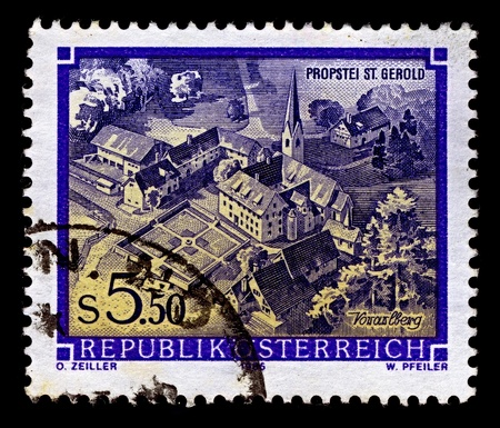 abbeys: AUSTRIA-CIRCA 1986:A stamp printed in AUSTRIA shows image of Great Abbeys of Austria - St. Gerold, circa 1986.