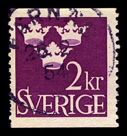 gustaf: SWEDEN-CIRCA 1952:A stamp printed in SWEDEN shows image of Arms of Gustaf V as Duke of Varmland, until the dissolution of the Union between Sweden and Norway in 1905, circa 1952. Editorial