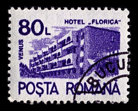 ROMANIA-CIRCA 1991:A stamp printed in ROMANIA shows image of Florica hotel spa Venus, circa 1991.