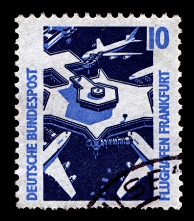 cir: GERMANY-CIRCA 1988:A stamp printed in GERMANY shows image of Frankfurt am Main Airport or simply Frankfurt Airport, known in German as Flughafen Frankfurt am Main or Rhein-Main-Flughafen, is a major international airport located in Frankfurt, Germany, cir