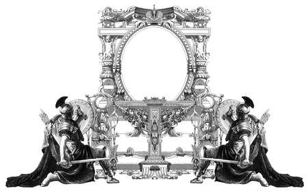 Luxurious Victorian frame, with a gladiator. Stock Photo