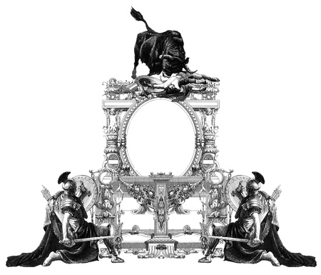 roman soldier: Luxurious Victorian frame with gladiator and bull. Stock Photo