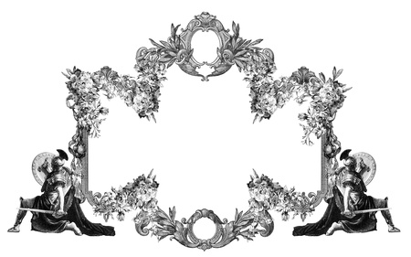 Luxurious Victorian frame, with a gladiator. Imagens