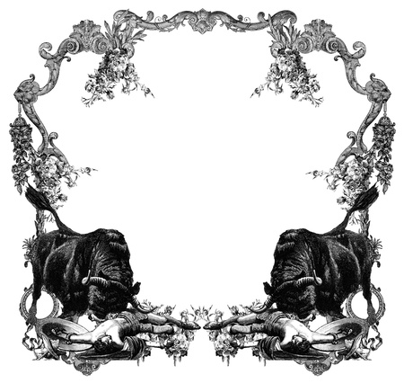 Luxurious Victorian frame with gladiator and bull. Stock Photo - 11979349