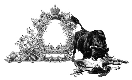 Luxurious Victorian frame with gladiator and bull. Stock Photo