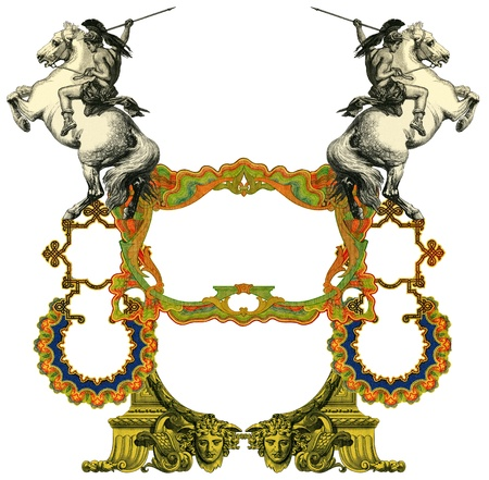 bull fight: Luxurious Victorian frame, after a engraving A bull fight edited by The Graphic - London, circa 1878. Stock Photo