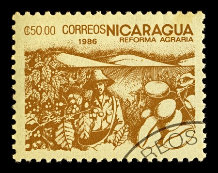 granger: NICARAGUA-CIRCA 1986:A stamp printed in NICARAGUA shows image of agrarian reform, circa 1986.
