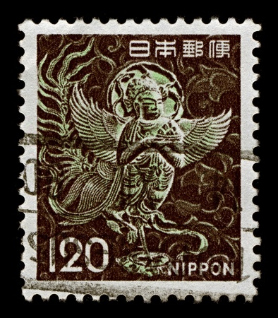 usually: JAPAN-CIRCA 1961:A stamp printed in Japan shows image of Sirin is a mythological creature of Russian legends, with the head and chest of a beautiful woman and the body of a bird (usually an owl), circa 1961. Editorial