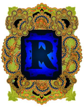 r image: Vintage iniziali lettera R, dopo una vecchia carta commerciale dell'Impero russo, circa 1905.