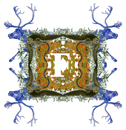 Vintage initials letter F, after a old commercial paper of the Russian Empire, circa 1905. photo