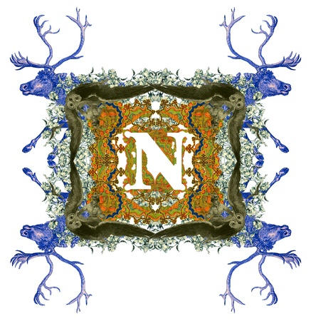 Vintage initials letter N, after a old commercial paper of the Russian Empire, circa 1905. photo