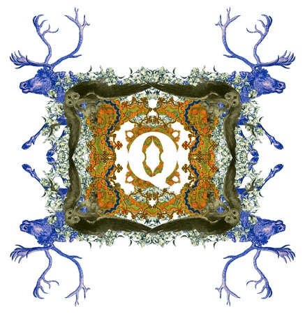 Vintage initials letter Q, after a old commercial paper of the Russian Empire, circa 1905. photo