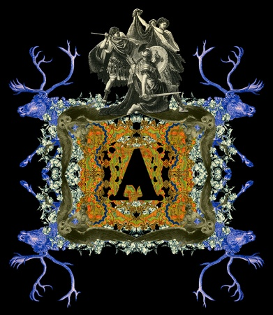 bull fight: Luxurious Victorian initials letter A, after a engraving A bull fight edited by The Graphic - London, circa 1878.