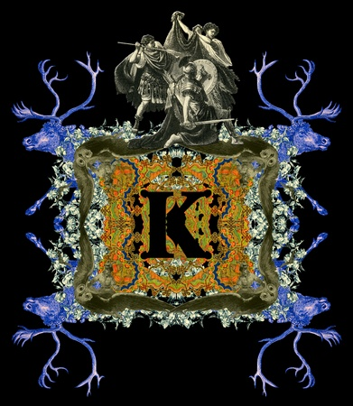 bull fight: Luxurious Victorian initials letter K, after a engraving A bull fight edited by The Graphic - London, circa 1878.