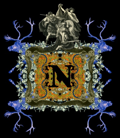 Luxurious Victorian initials letter N, after a engraving A bull fight edited by The Graphic - London, circa 1878. photo
