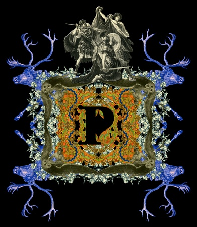 bull fight: Luxurious Victorian initials letter P, after a engraving A bull fight edited by The Graphic - London, circa 1878. Stock Photo