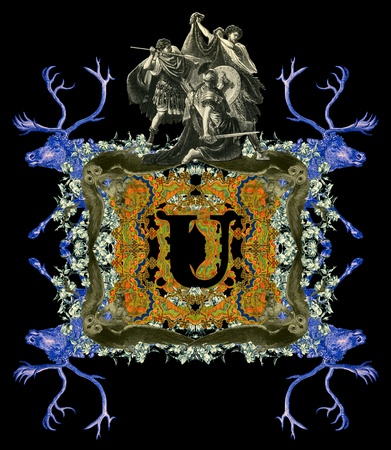 bull fight: Luxurious Victorian initials letter U, after a engraving A bull fight edited by The Graphic - London, circa 1878.