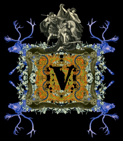 Luxurious Victorian initials letter V, after a engraving 'A bull fight' edited by The Graphic - London, circa 1878. photo