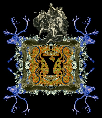 Luxurious Victorian initials letter Y, after a engraving A bull fight edited by The Graphic - London, circa 1878. photo