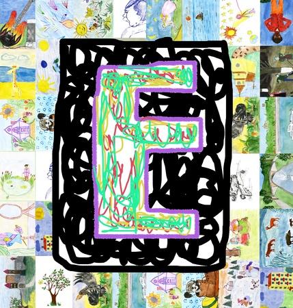 Iniciales letra E, de dibujos de ni�os hecha por ni�os Foto de archivo - 12937681