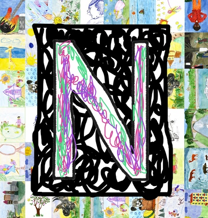 Initials letter N, from children s drawings  Made by child  photo