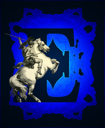 casque: Luxurious Victorian initials letter E, after a engraving A bull fight edited by The Graphic - London, circa 1878. Stock Photo