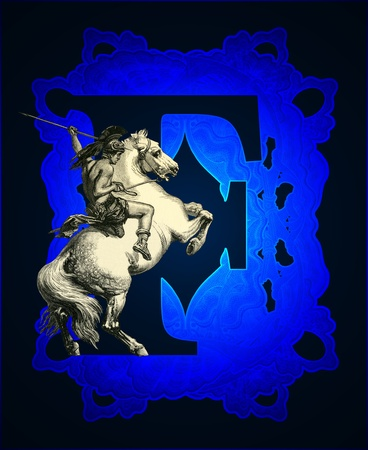 Luxurious Victorian initials letter F, after a engraving A bull fight edited by The Graphic - London, circa 1878. photo