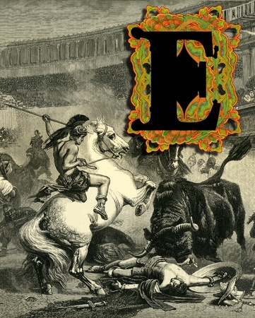 Luxurious Victorian initials letter E, after a engraving  A bull fight  edited by The Graphic - London, circa 1878  photo