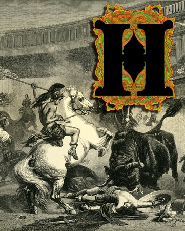 bull fight: Luxurious Victorian initials letter H, after a engraving  A bull fight  edited by The Graphic - London, circa 1878  Stock Photo