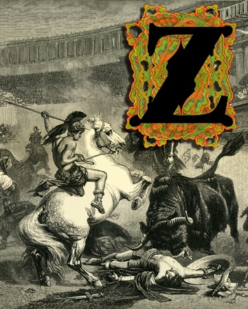 bull fight: Luxurious Victorian initials letter Z, after a engraving  A bull fight  edited by The Graphic - London, circa 1878
