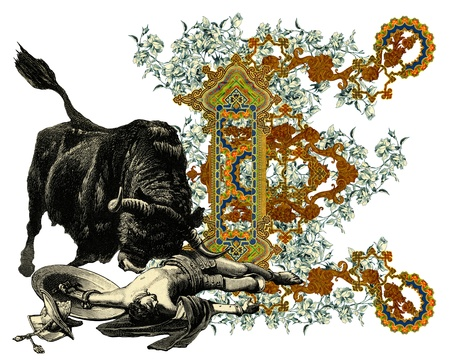 Luxurious Victorian initials letter E, after a engraving A bull fight edited by The Graphic - London, circa 1878. photo