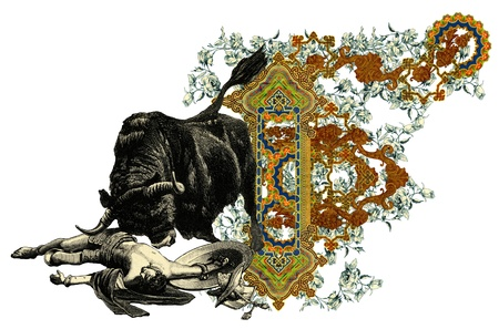 bull fight: Luxurious Victorian initials letter F, after a engraving A bull fight edited by The Graphic - London, circa 1878.