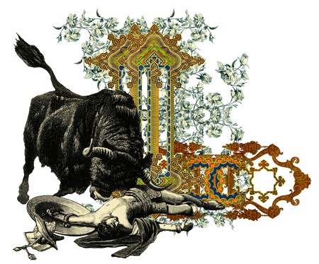 bull fight: Luxurious Victorian initials letter L, after a engraving A bull fight edited by The Graphic - London, circa 1878.