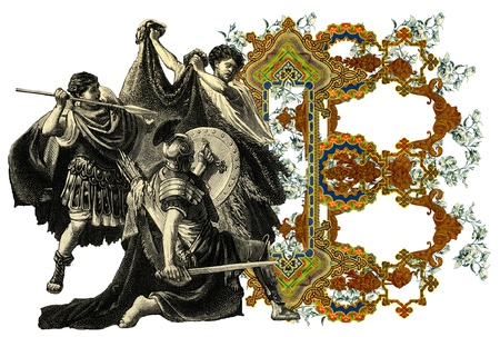 bull fight: Luxurious Victorian initials letter B, after a engraving A bull fight edited by The Graphic - London, circa 1878.