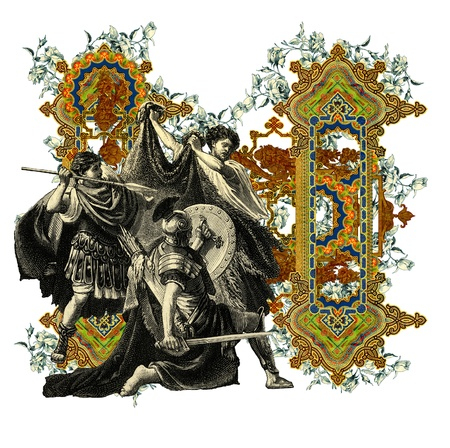 bull fight: Luxurious Victorian initials letter N, after a engraving A bull fight edited by The Graphic - London, circa 1878.